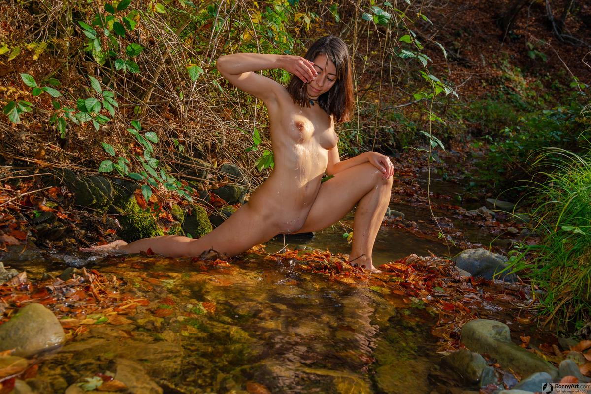 Naturist Girl Washing Naked Body at the Creek
