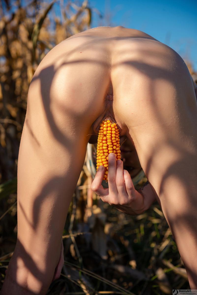 Bent Over Masturbating with big Corn