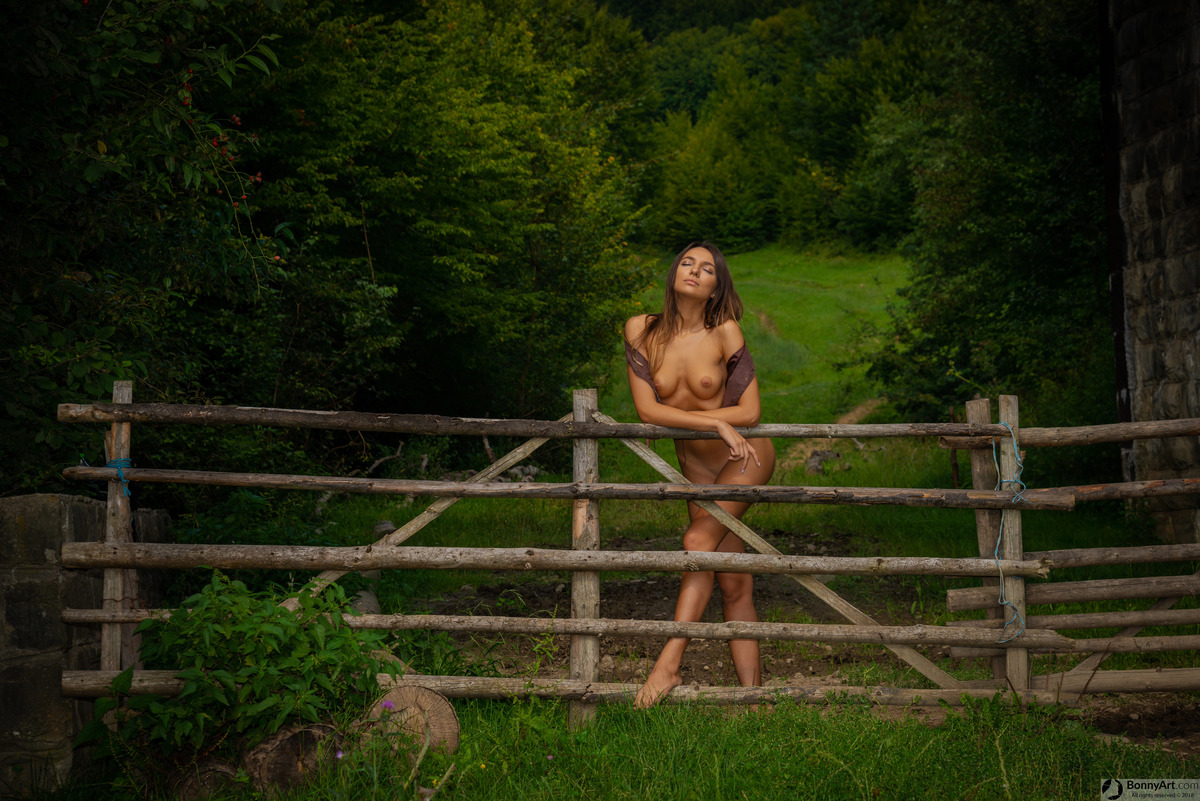 Beautiful Country Girl at the Ranch's Fence