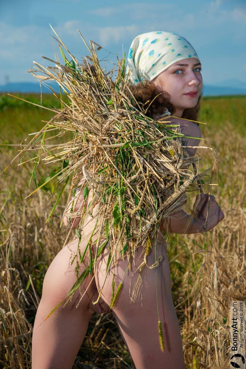 Naked Teen Peasant Girl Harvesting Rye Crop