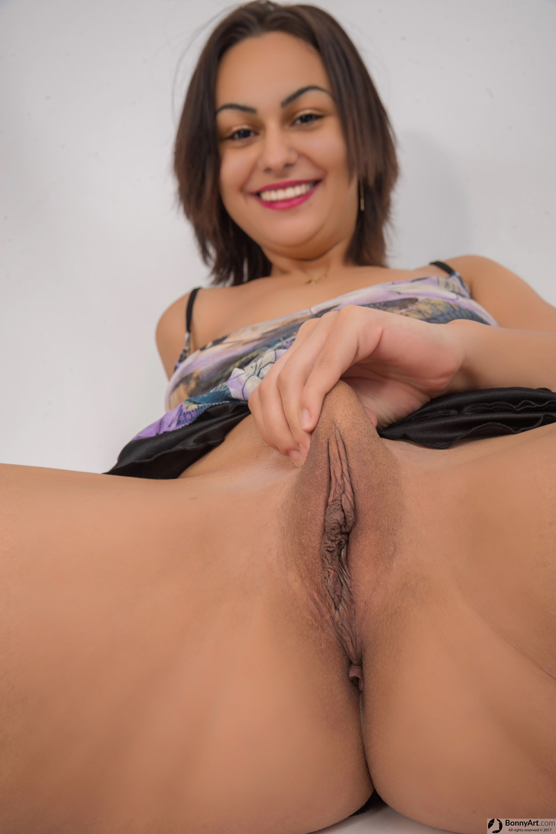 Happy Girl Pulling Fat Big Vulva Up